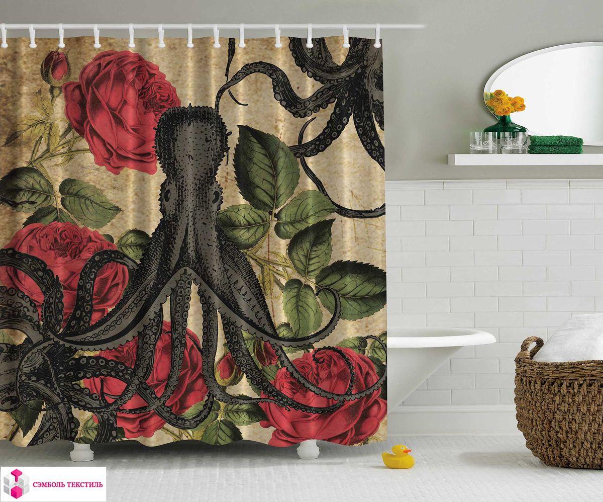 Штора для ванной комнаты Magic Lady Морской царь, цвет: бежевый, красный, зеленый, 180 х 200 см