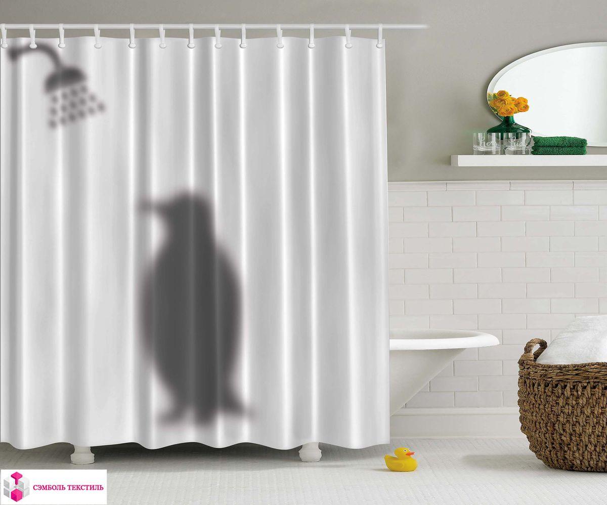 Штора для ванной комнаты Magic Lady Пингвин в ванне, 180 х 200 см шторы для ванной magic lady штора для ванно 180 200 см