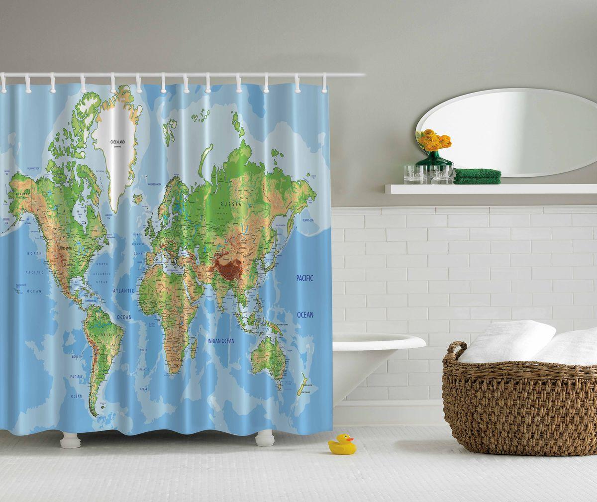 Штора для ванной комнаты Magic Lady Карта мира, 180 х 200 см. шв_4494шв_4494Штора Magic Lady Карта мира, изготовленная из высококачественного сатена (полиэстер 100%), отлично дополнит любой интерьер ванной комнаты. При изготовлении используются специальные гипоаллергенные чернила для прямой печати по ткани, безопасные для человека.В комплекте: 1 штора, 12 крючков. Обращаем ваше внимание, фактический цвет изделия может незначительно отличаться от представленного на фото.
