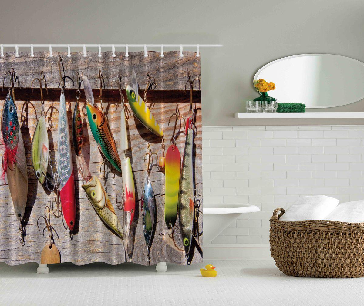 Штора для ванной комнаты Magic Lady Разноцветные блесны, 180 х 200 смшв_4643Штора Magic Lady Разноцветные блесны, изготовленная из высококачественного сатена (полиэстер 100%), отлично дополнит любой интерьер ванной комнаты. При изготовлении используются специальные гипоаллергенные чернила для прямой печати по ткани, безопасные для человека.В комплекте: 1 штора, 12 крючков. Обращаем ваше внимание, фактический цвет изделия может незначительно отличаться от представленного на фото.