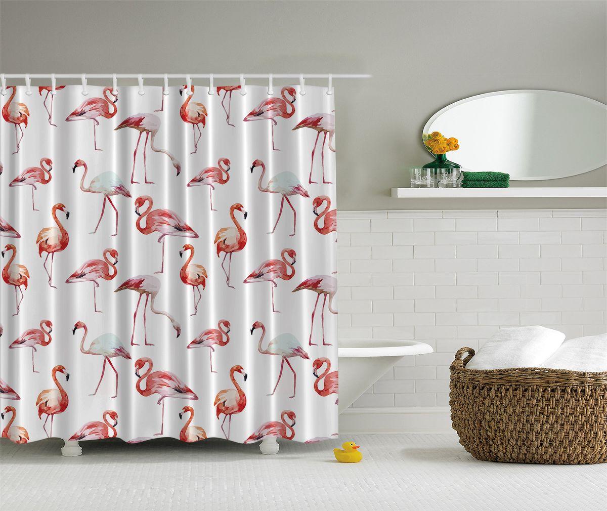 Штора для ванной комнаты Magic Lady Розовый фламинго, 180 х 200 смшв_5105Штора Magic Lady Розовый фламинго, изготовленная из высококачественного сатена (полиэстер 100%), отлично дополнит любой интерьер ванной комнаты. При изготовлении используются специальные гипоаллергенные чернила для прямой печати по ткани, безопасные для человека.В комплекте: 1 штора, 12 крючков. Обращаем ваше внимание, фактический цвет изделия может незначительно отличаться от представленного на фото.