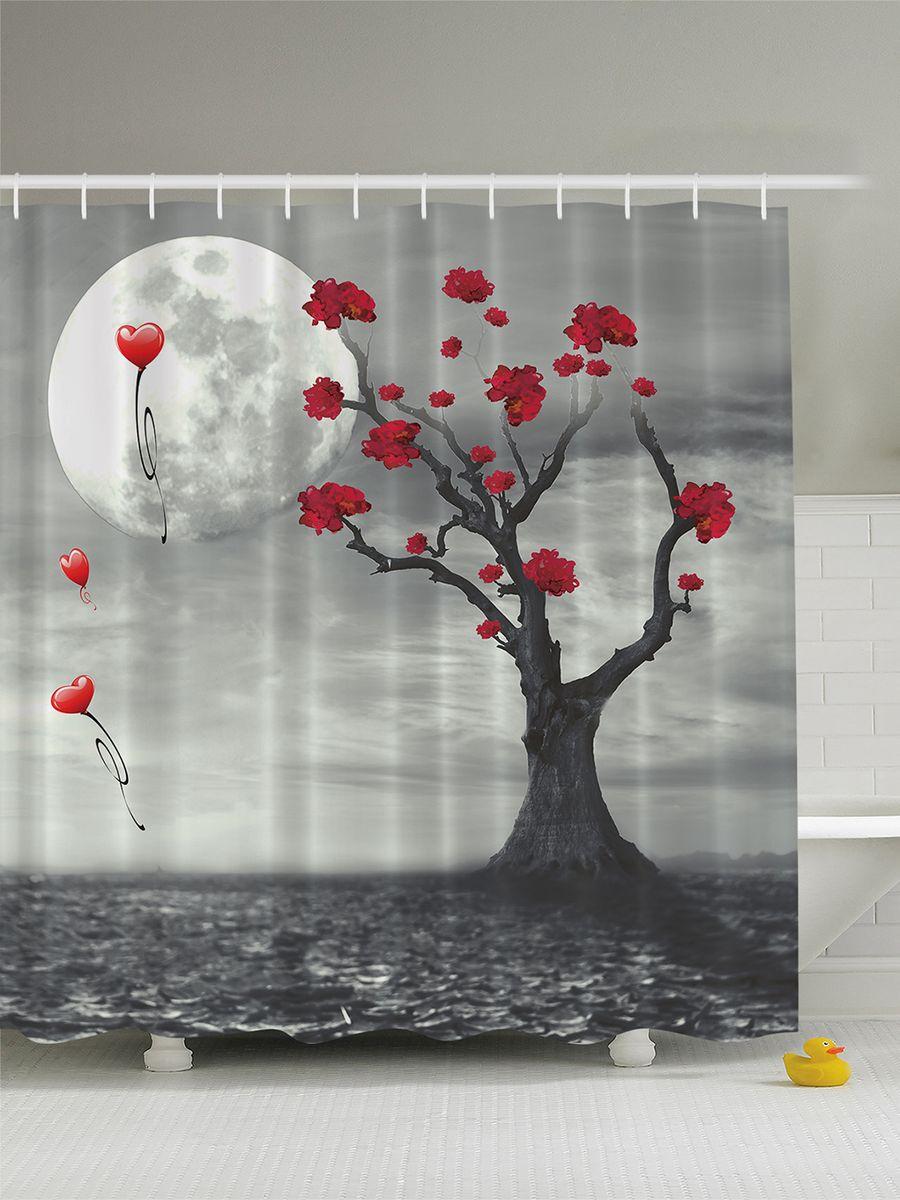 "Штора для ванной комнаты Magic Lady ""Луна, пустыня, дерево"", 180 х 200 см"
