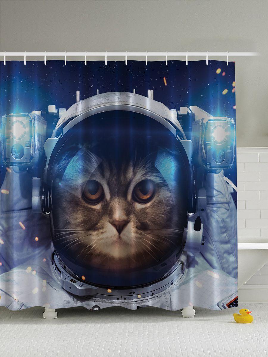 Штора для ванной комнаты Magic Lady Кошка в космосе, 180 х 200 см