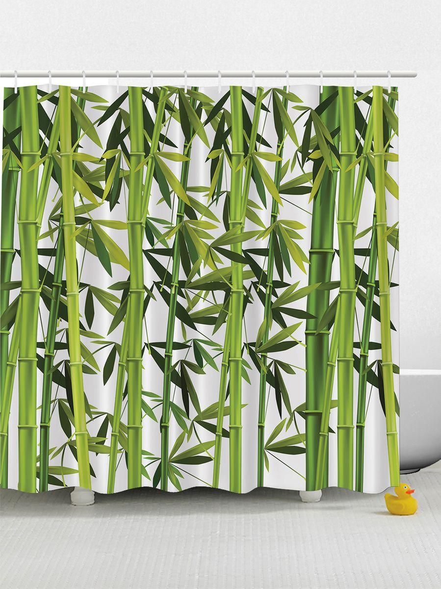 Штора для ванной комнаты Magic Lady Зеленые стебли бамбука, 180 х 200 см фотоштора для ванной утка принимает душ magic lady 180 х 200 см