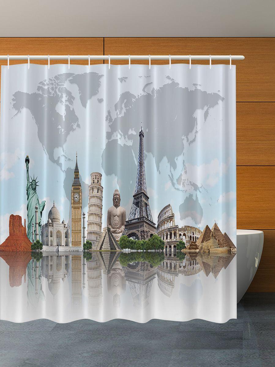 Штора для ванной комнаты Magic Lady Чудеса света, 180 х 200 см штора для ванной комнаты magic lady планеты  180 х 200 см