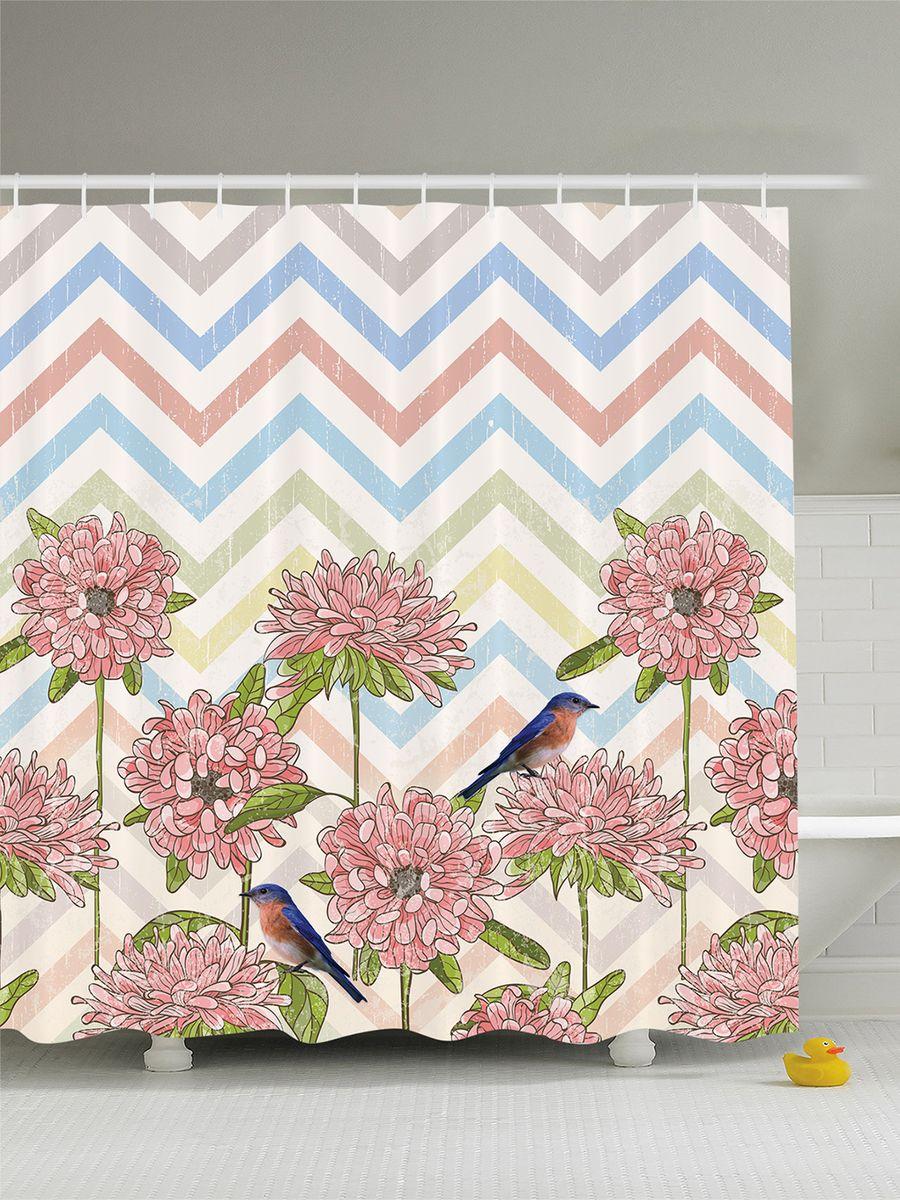 """Штора для ванной комнаты Magic Lady """"Цветы и птицы"""", 180 х 200 см"""