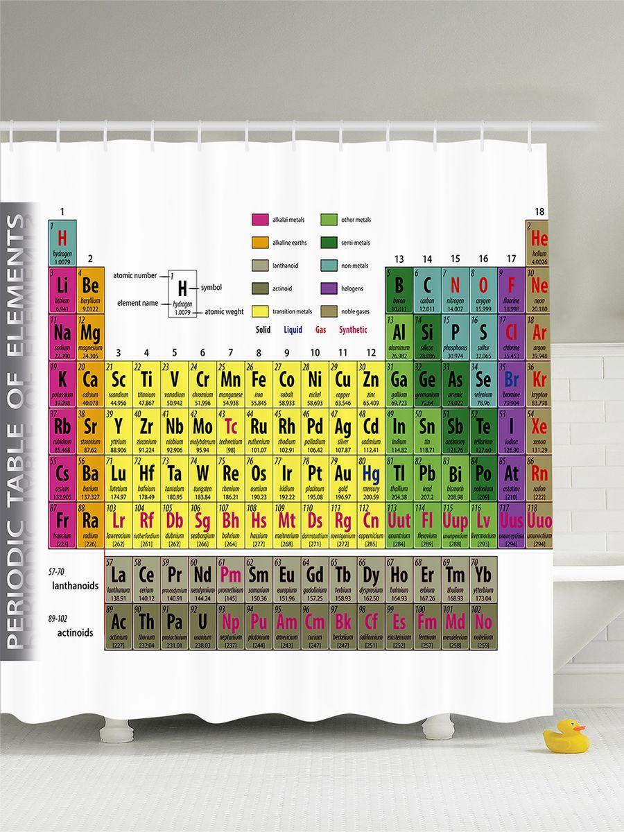 """Штора Magic Lady """"Периодическая таблица"""", изготовленная из высококачественного сатена (полиэстер 100%), отлично дополнит любой интерьер ванной комнаты. При изготовлении используются специальные гипоаллергенные чернила для прямой печати по ткани, безопасные для человека.    В комплекте: 1 штора, 12 крючков. Обращаем ваше внимание, фактический цвет изделия может незначительно отличаться от представленного на фото."""