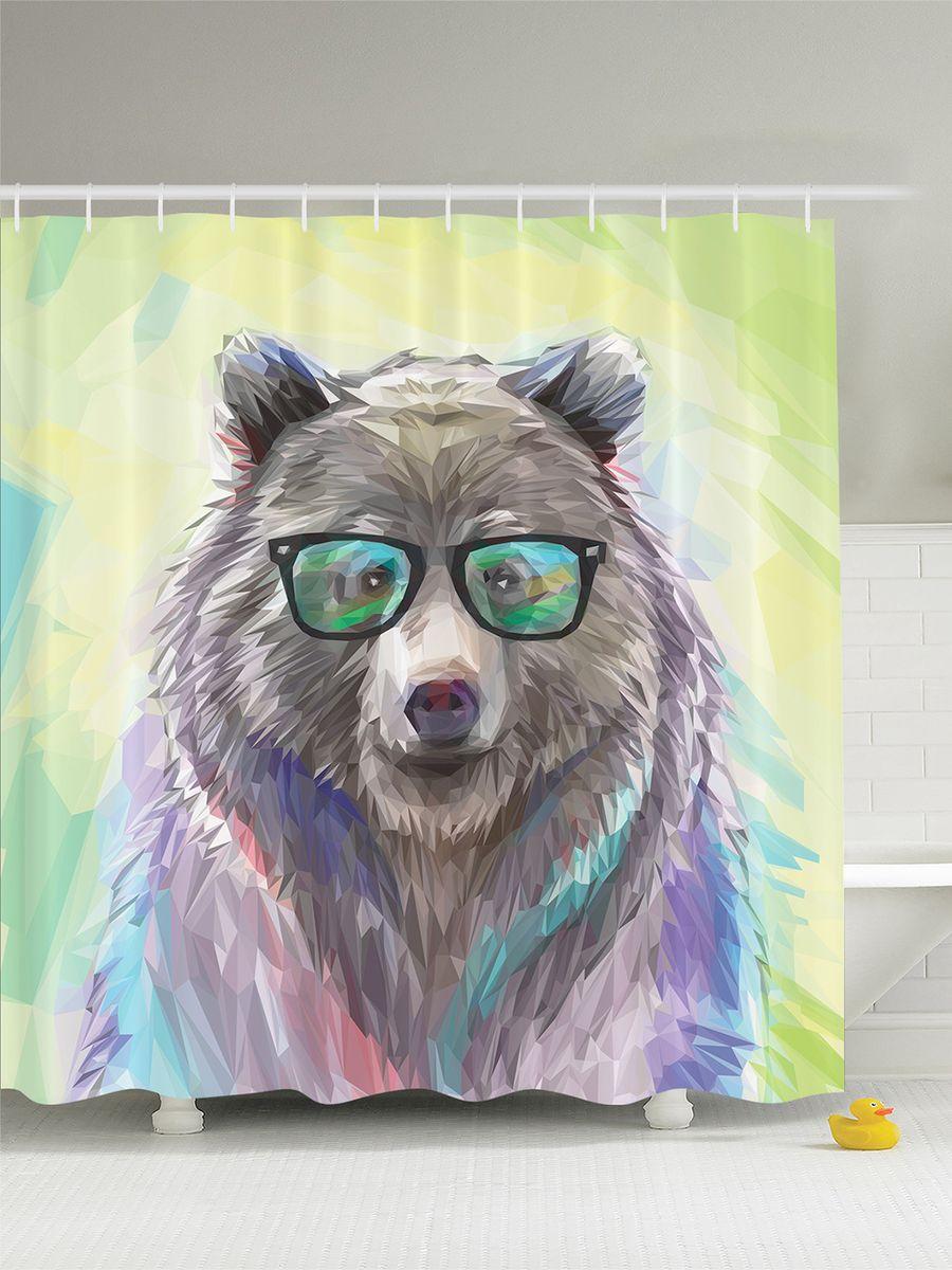 """Штора Magic Lady """"Медведь в очках"""", изготовленная из высококачественного сатена (полиэстер 100%), отлично дополнит любой интерьер ванной комнаты. При изготовлении используются специальные гипоаллергенные чернила для прямой печати по ткани, безопасные для человека.    В комплекте: 1 штора, 12 крючков. Обращаем ваше внимание, фактический цвет изделия может незначительно отличаться от представленного на фото."""