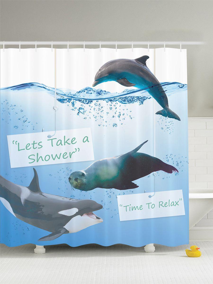 """Штора Magic Lady """"Морской лев, касатка и дельфин"""", изготовленная из высококачественного сатена (полиэстер 100%), отлично дополнит любой интерьер ванной комнаты. При изготовлении используются специальные гипоаллергенные чернила для прямой печати по ткани, безопасные для человека.    В комплекте: 1 штора, 12 крючков. Обращаем ваше внимание, фактический цвет изделия может незначительно отличаться от представленного на фото."""