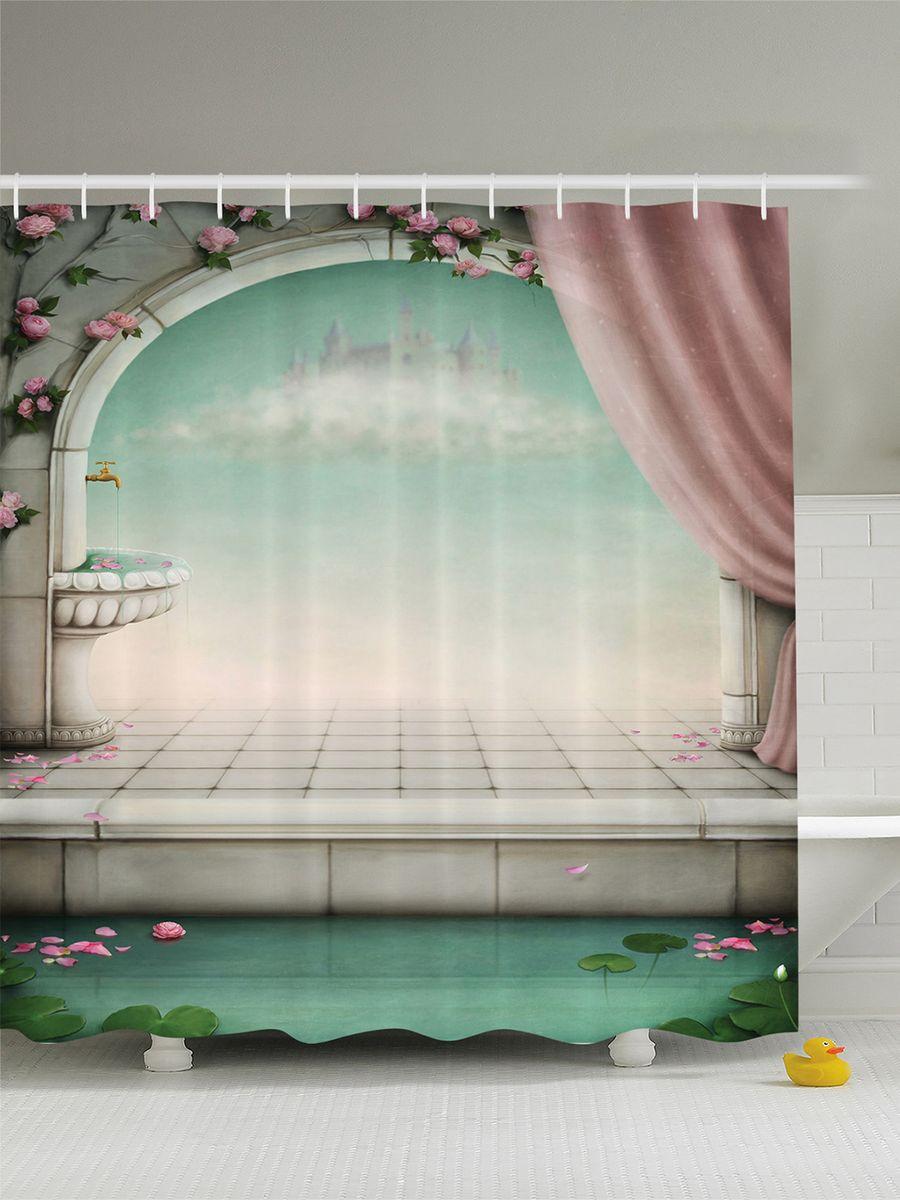 Штора для ванной комнаты Magic Lady Бассейн с кувшинками, 180 х 200 см