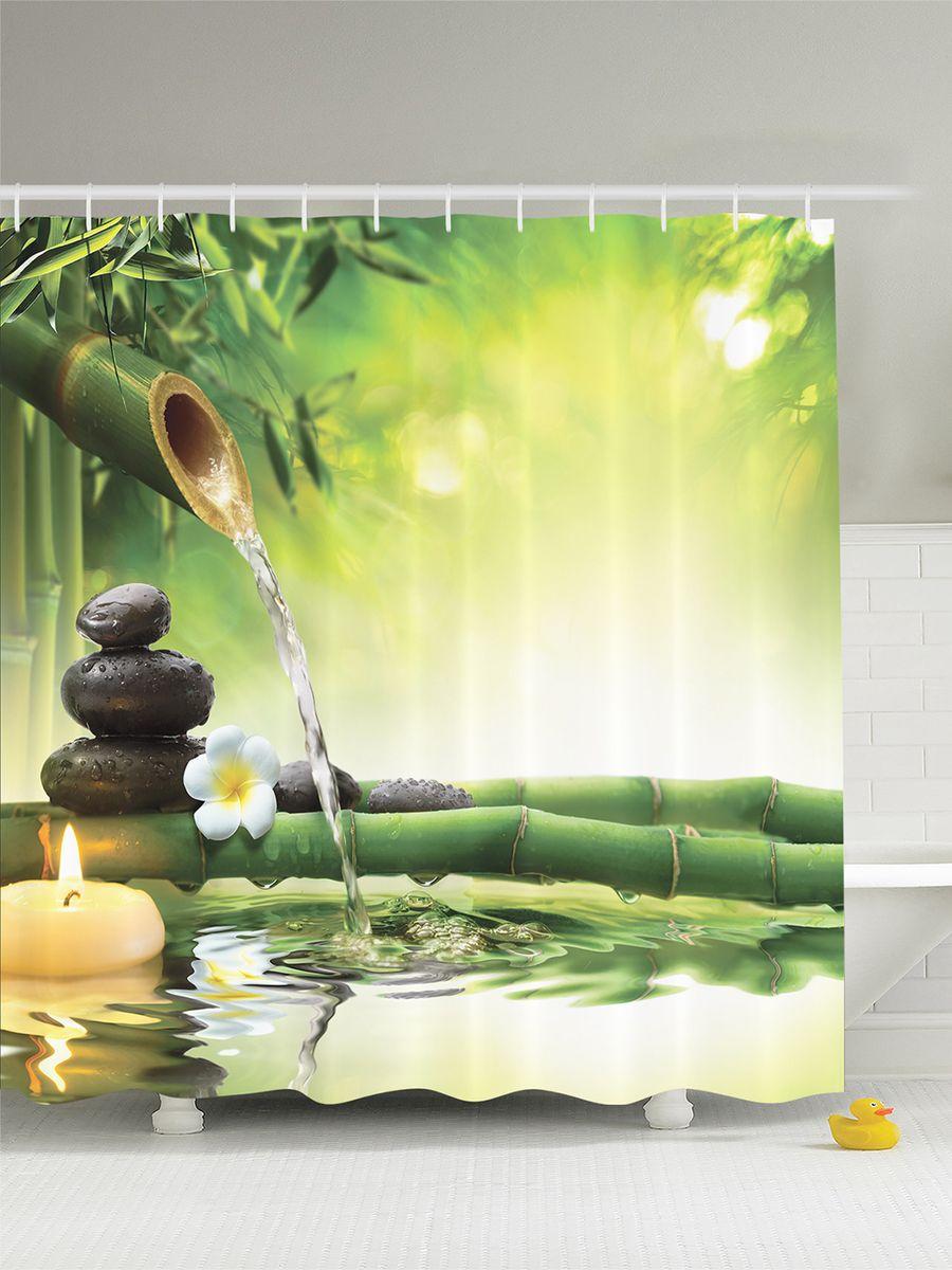 Штора для ванной комнаты Magic Lady Тишина и покой. Фен шуй, 180 х 200 см фотоштора для ванной утка принимает душ magic lady 180 х 200 см