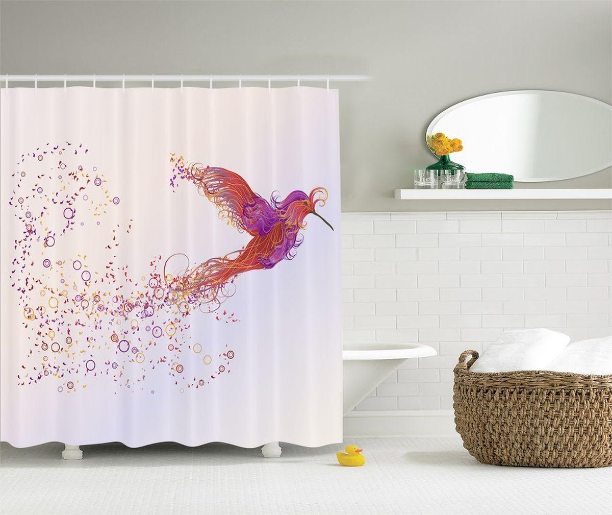 Штора для ванной комнаты Magic Lady Птица счастья, 180 х 200 см штора для ванной комнаты magic lady планеты  180 х 200 см