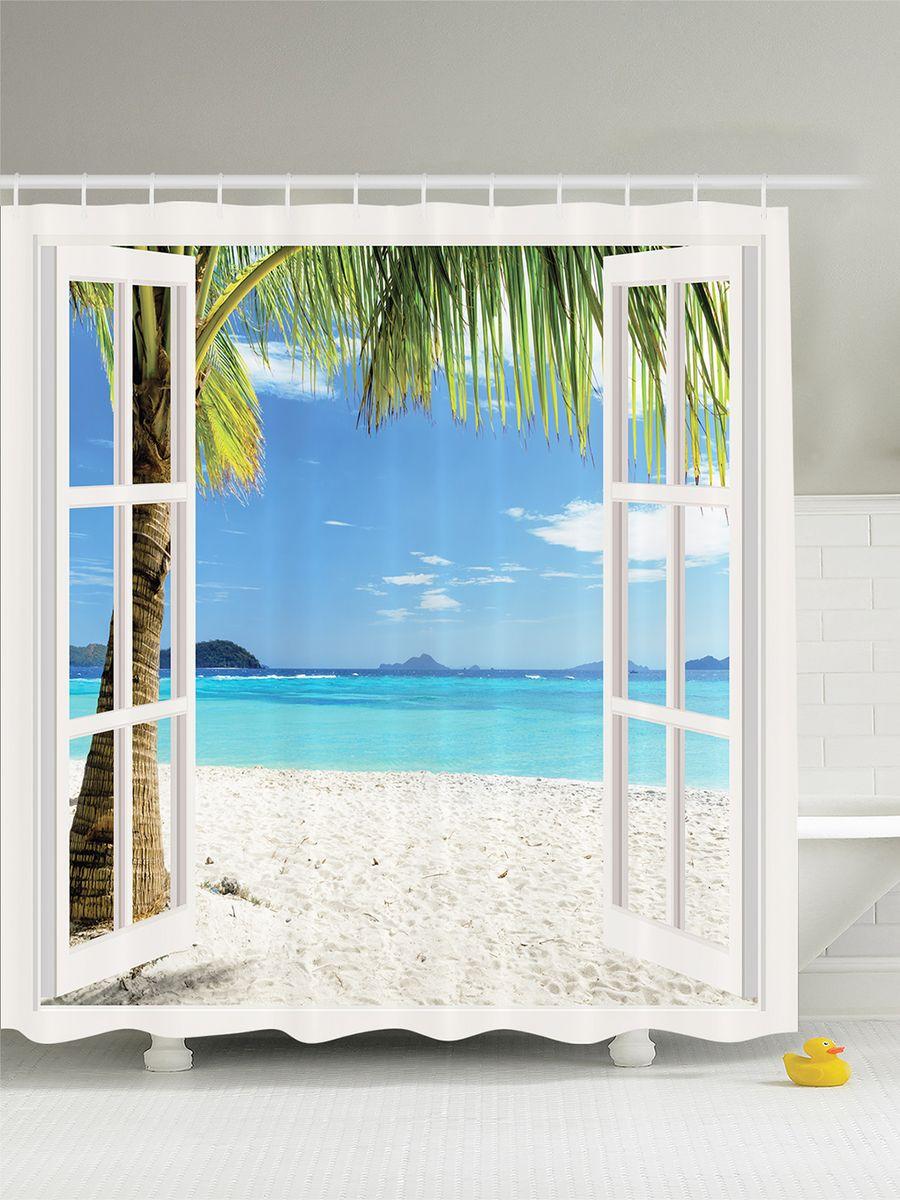 """Штора Magic Lady """"Окно с видом на пляж"""", изготовленная из высококачественного сатена (полиэстер 100%), отлично дополнит любой интерьер ванной комнаты. При изготовлении используются специальные гипоаллергенные чернила для прямой печати по ткани, безопасные для человека.    В комплекте: 1 штора, 12 крючков. Обращаем ваше внимание, фактический цвет изделия может незначительно отличаться от представленного на фото."""