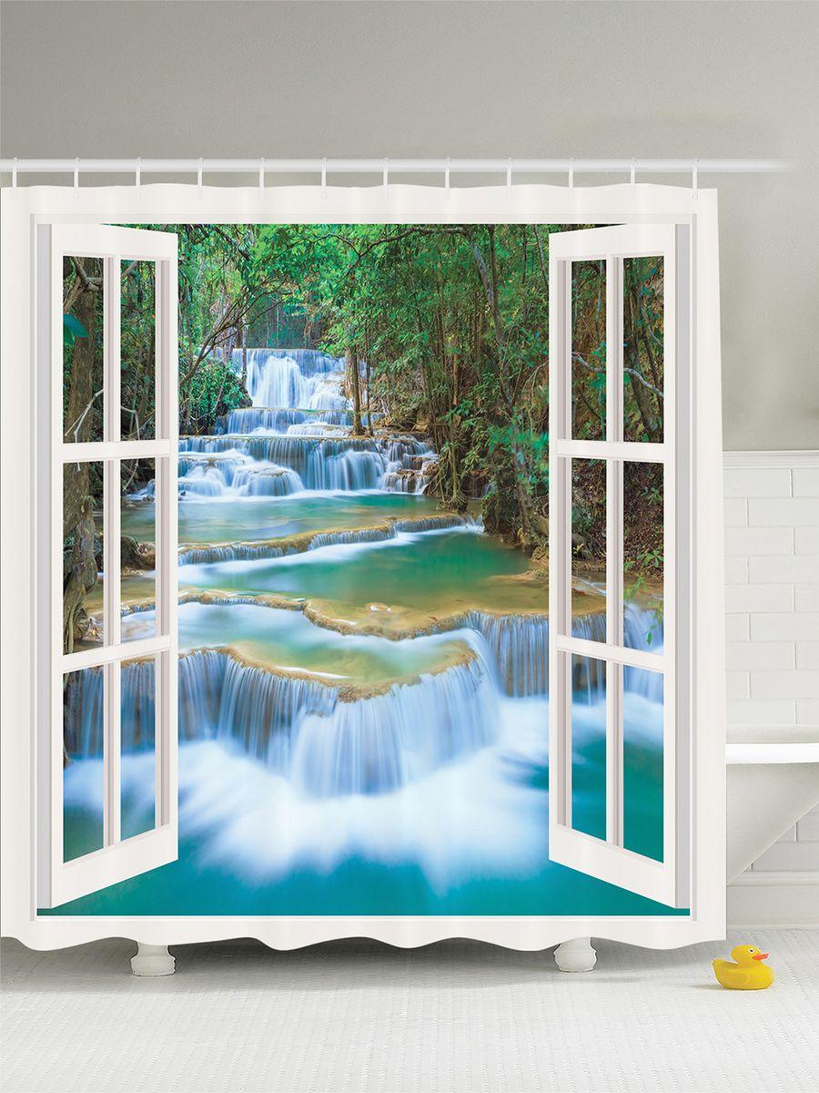 Штора для ванной комнаты Magic Lady Окно с видом на водопад, 180 х 200 см