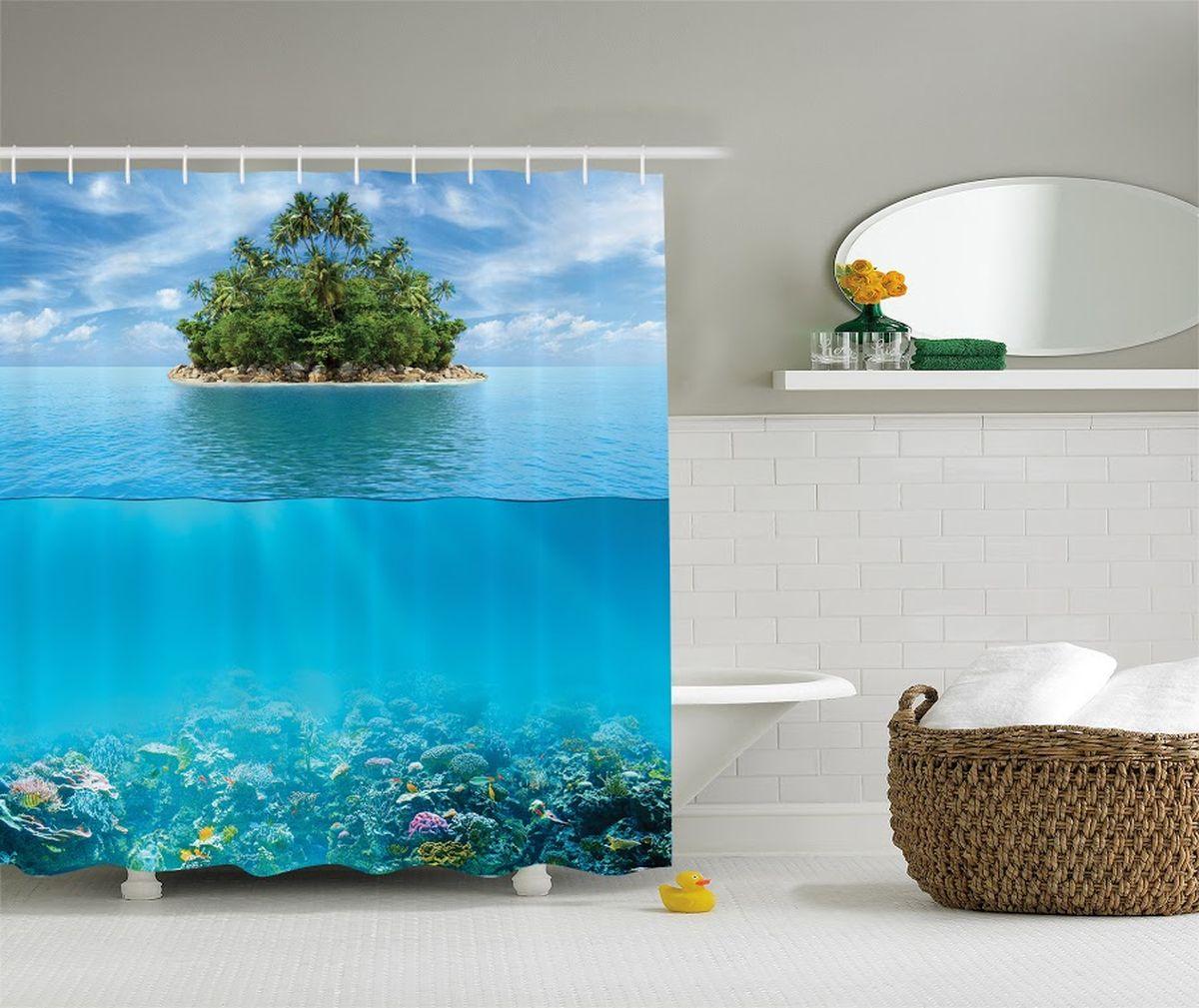 Штора для ванной комнаты Magic Lady Пальмовый остров, 180 х 200 смшв_8087Штора Magic Lady Пальмовый остров, изготовленная из высококачественного сатена (полиэстер 100%), отлично дополнит любой интерьер ванной комнаты. При изготовлении используются специальные гипоаллергенные чернила для прямой печати по ткани, безопасные для человека.В комплекте: 1 штора, 12 крючков. Обращаем ваше внимание, фактический цвет изделия может незначительно отличаться от представленного на фото.