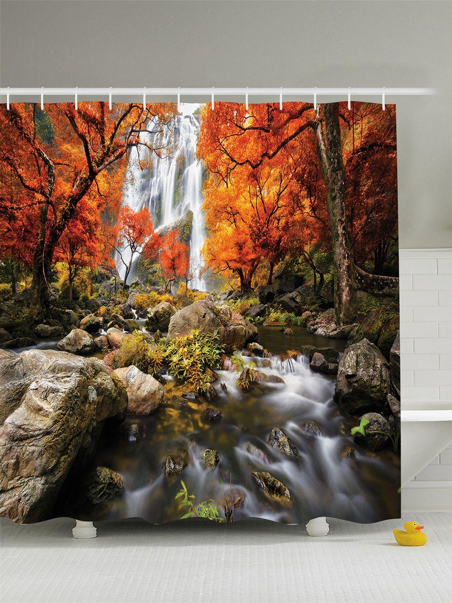 Штора для ванной комнаты Magic Lady Оранжевые деревья над водопадом, 180 х 200 см штора для ванной комнаты magic lady ателье  180 х 200 см
