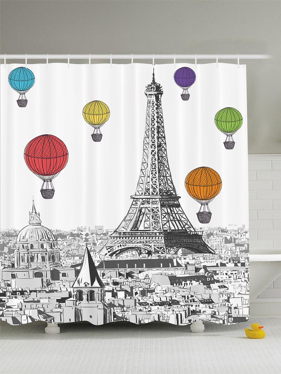 Штора для ванной комнаты Magic Lady Воздушные шары над Эйфелевой башней, 180 х 200 см