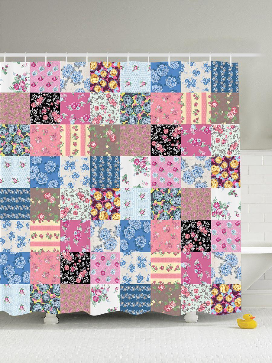 """Штора Magic Lady """"Лоскутное одеяло"""", изготовленная из высококачественного сатена (полиэстер 100%), отлично дополнит любой интерьер ванной комнаты. При изготовлении используются специальные гипоаллергенные чернила для прямой печати по ткани, безопасные для человека.    В комплекте: 1 штора, 12 крючков. Обращаем ваше внимание, фактический цвет изделия может незначительно отличаться от представленного на фото."""