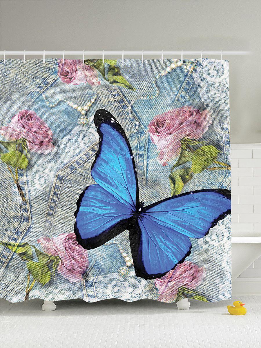 Штора для ванной комнаты Magic Lady Бабочка на джинсах, 180 х 200 см салатник luminarc arty orange диаметр 27 см