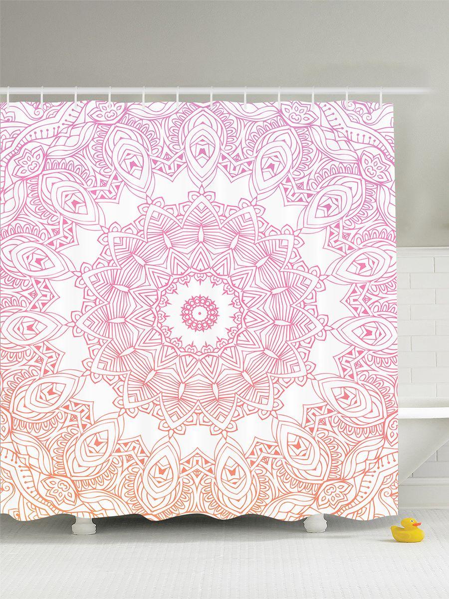 """Штора Magic Lady """"Розовая мандала"""", изготовленная из высококачественного сатена (полиэстер 100%), отлично дополнит любой интерьер ванной комнаты. При изготовлении используются специальные гипоаллергенные чернила для прямой печати по ткани, безопасные для человека.    В комплекте: 1 штора, 12 крючков. Обращаем ваше внимание, фактический цвет изделия может незначительно отличаться от представленного на фото."""