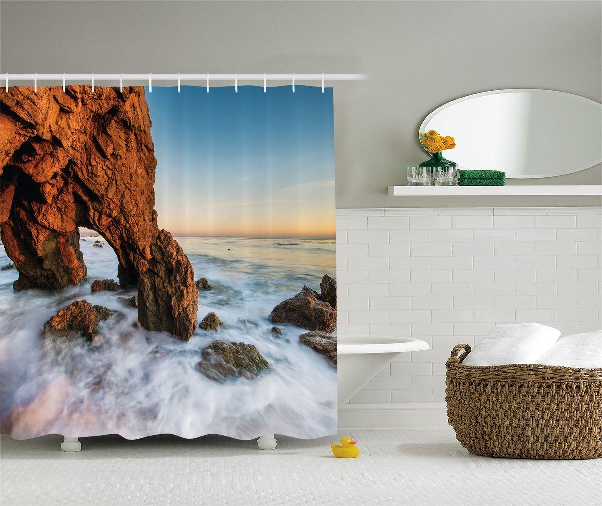 Штора для ванной комнаты Magic Lady Скала в пенном море, 180 х 200 см штора для ванной комнаты magic lady дерево в волшебном лесу цвет коричневый оранжевый 180 х 200 см href page 4