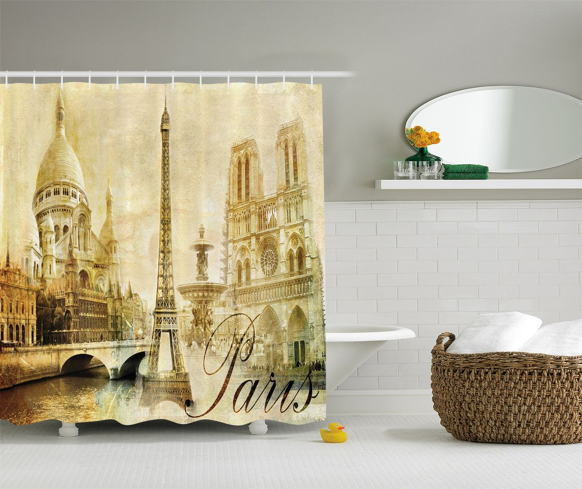 """Штора Magic Lady """"Достопримечательности Парижа"""", изготовленная из высококачественного сатена (полиэстер 100%), отлично дополнит любой интерьер ванной комнаты. При изготовлении используются специальные гипоаллергенные чернила для прямой печати по ткани, безопасные для человека.    В комплекте: 1 штора, 12 крючков. Обращаем ваше внимание, фактический цвет изделия может незначительно отличаться от представленного на фото."""