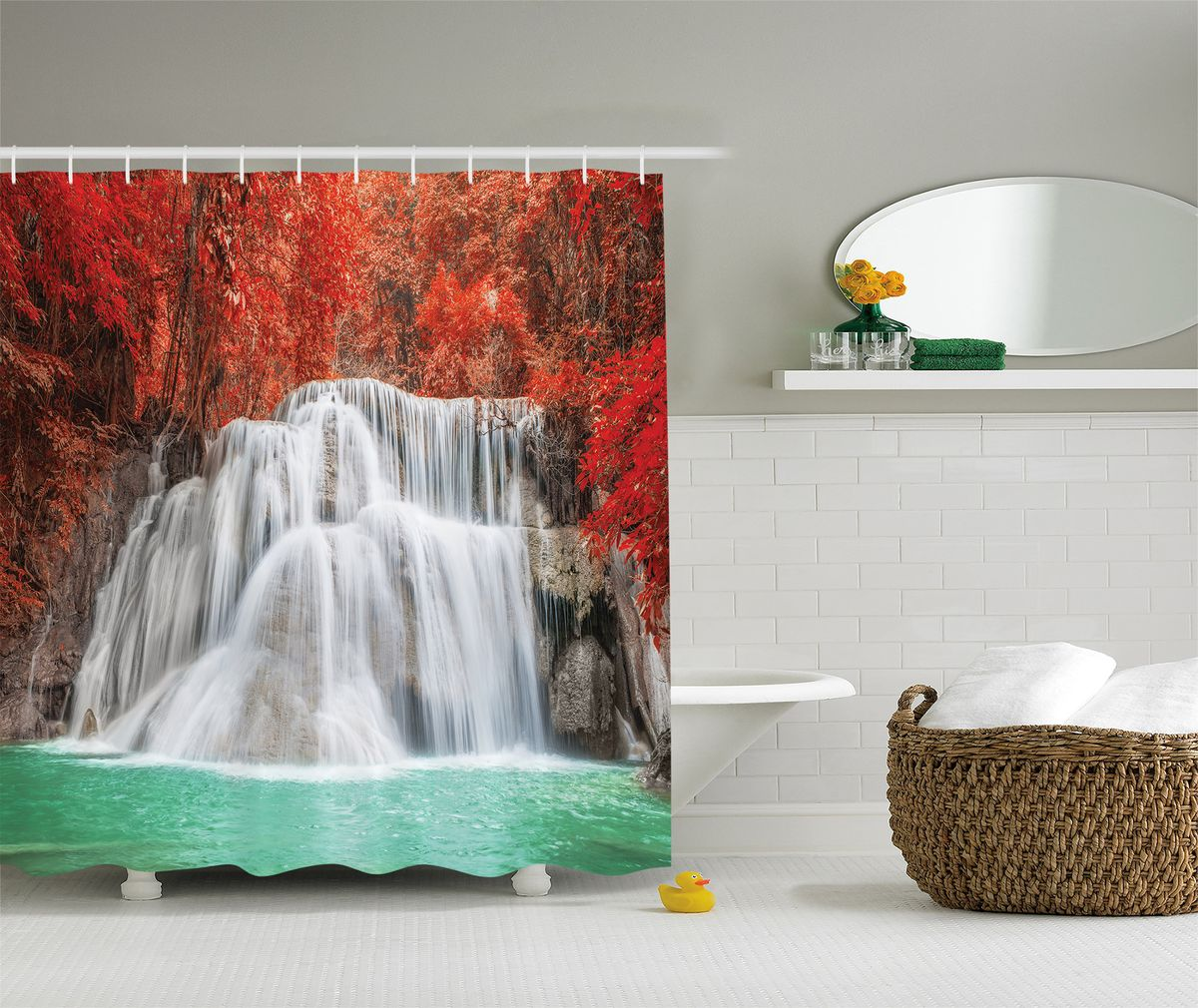 Штора для ванной комнаты Magic Lady Водопад в красном лесу, 180 х 200 см
