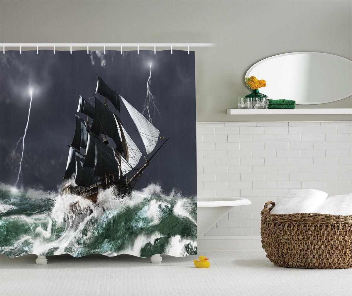 Штора для ванной комнаты Magic Lady Корабль в бурном море, 180 х 200 см штора для ванной комнаты magic lady дерево в волшебном лесу цвет коричневый оранжевый 180 х 200 см href page 1