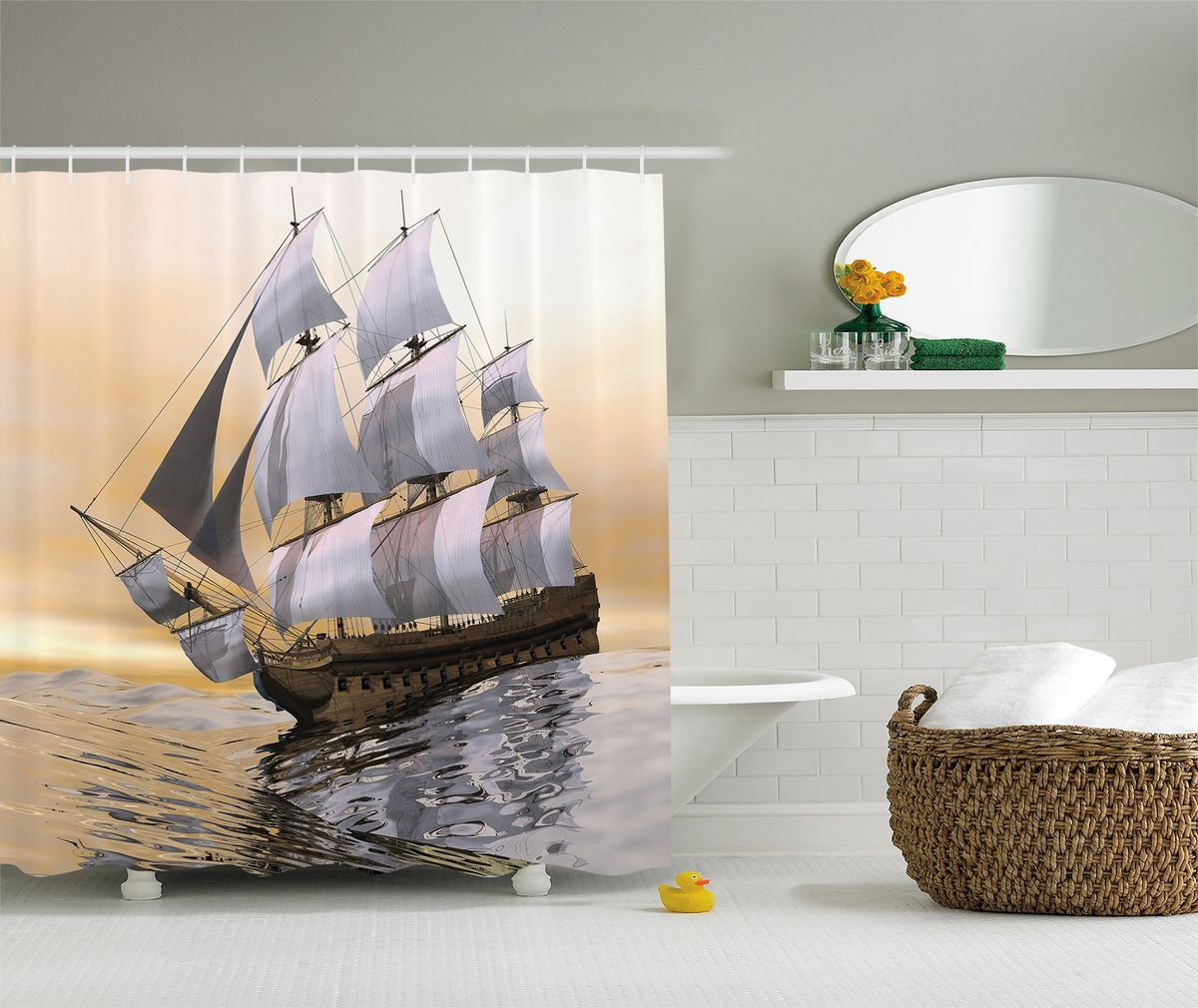 Штора для ванной комнаты Magic Lady Корабль на закате, цвет: бежевый, серый, коричневый, 180 х 200 см цена