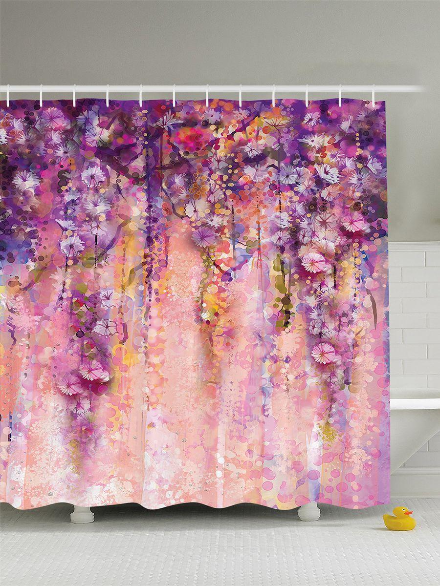 """Штора Magic Lady """"Цветущие лианы"""", изготовленная из высококачественного сатена (полиэстер 100%), отлично дополнит любой интерьер ванной комнаты. При изготовлении используются специальные гипоаллергенные чернила для прямой печати по ткани, безопасные для человека.    В комплекте: 1 штора, 12 крючков. Обращаем ваше внимание, фактический цвет изделия может незначительно отличаться от представленного на фото."""