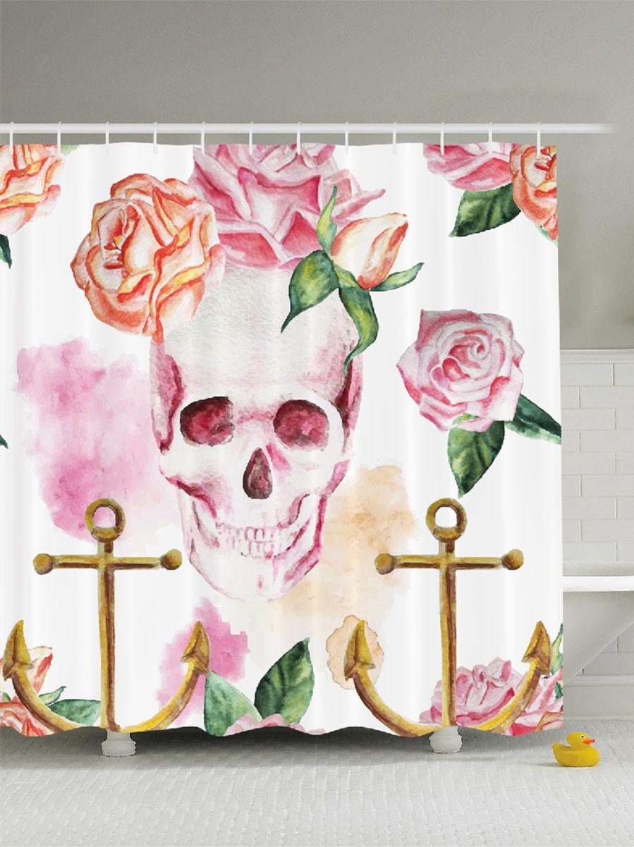 Штора для ванной комнаты Magic Lady Череп, розы, якоря, 180 х 200 см