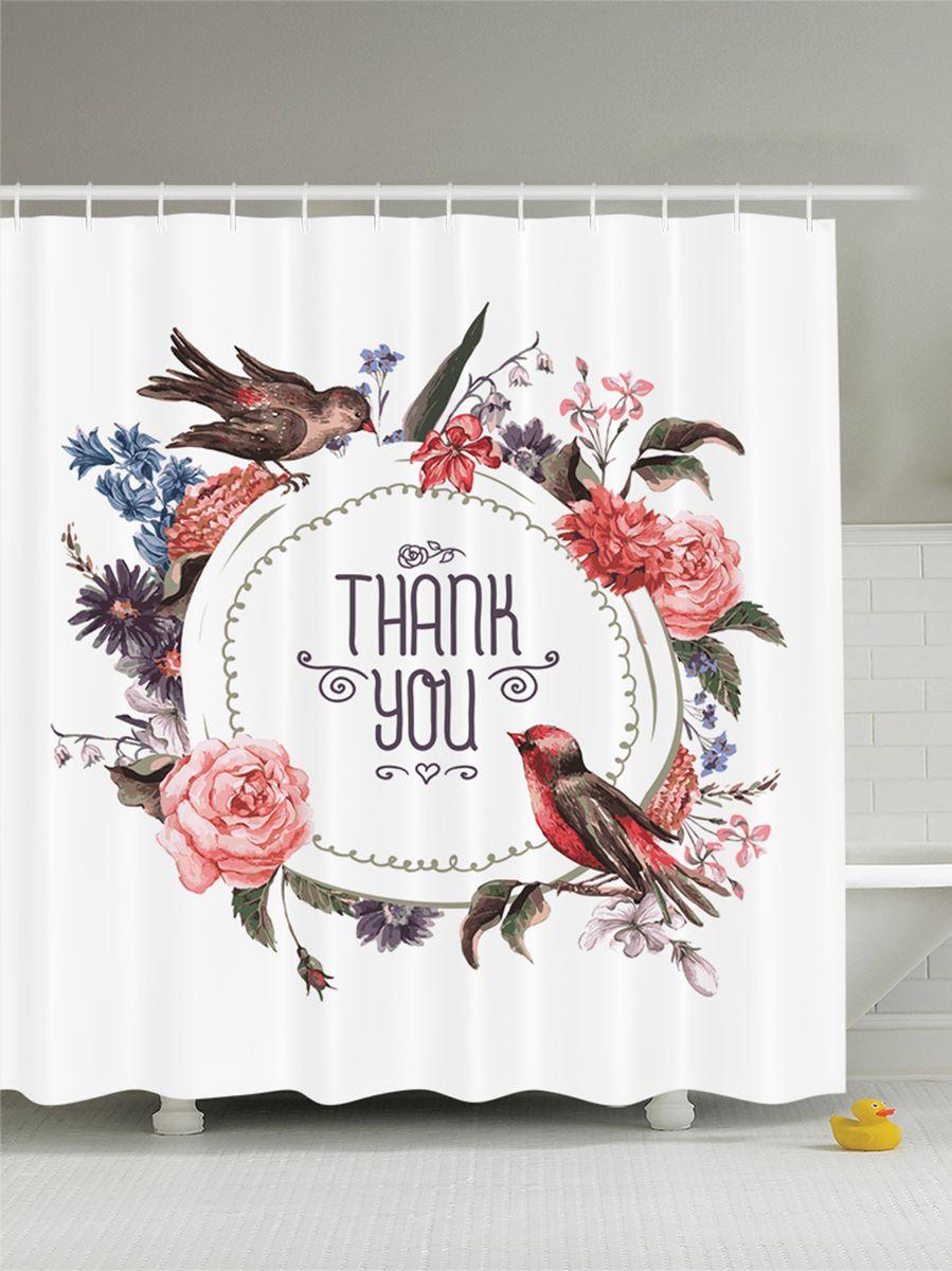 """Штора Magic Lady """"Птицы и цветы"""", изготовленная из высококачественного сатена (полиэстер 100%), отлично дополнит любой интерьер ванной комнаты. При изготовлении используются специальные гипоаллергенные чернила для прямой печати по ткани, безопасные для человека и животных.    В комплекте: 1 штора, 12 крючков. Обращаем ваше внимание, фактический цвет изделия может незначительно отличаться от представленного на фото."""