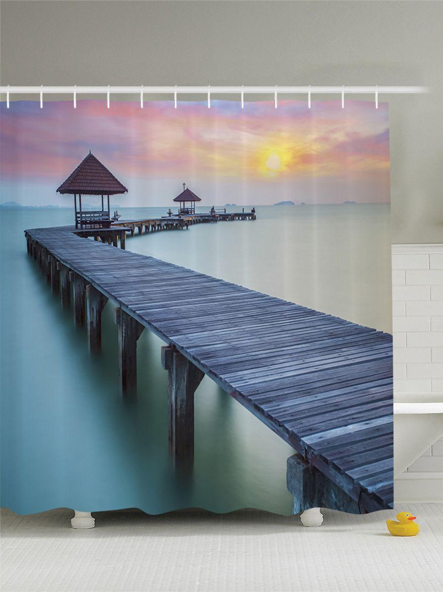 Штора для ванной комнаты Magic Lady Рассвет. Мост для прогулок, 180 х 200 см цена