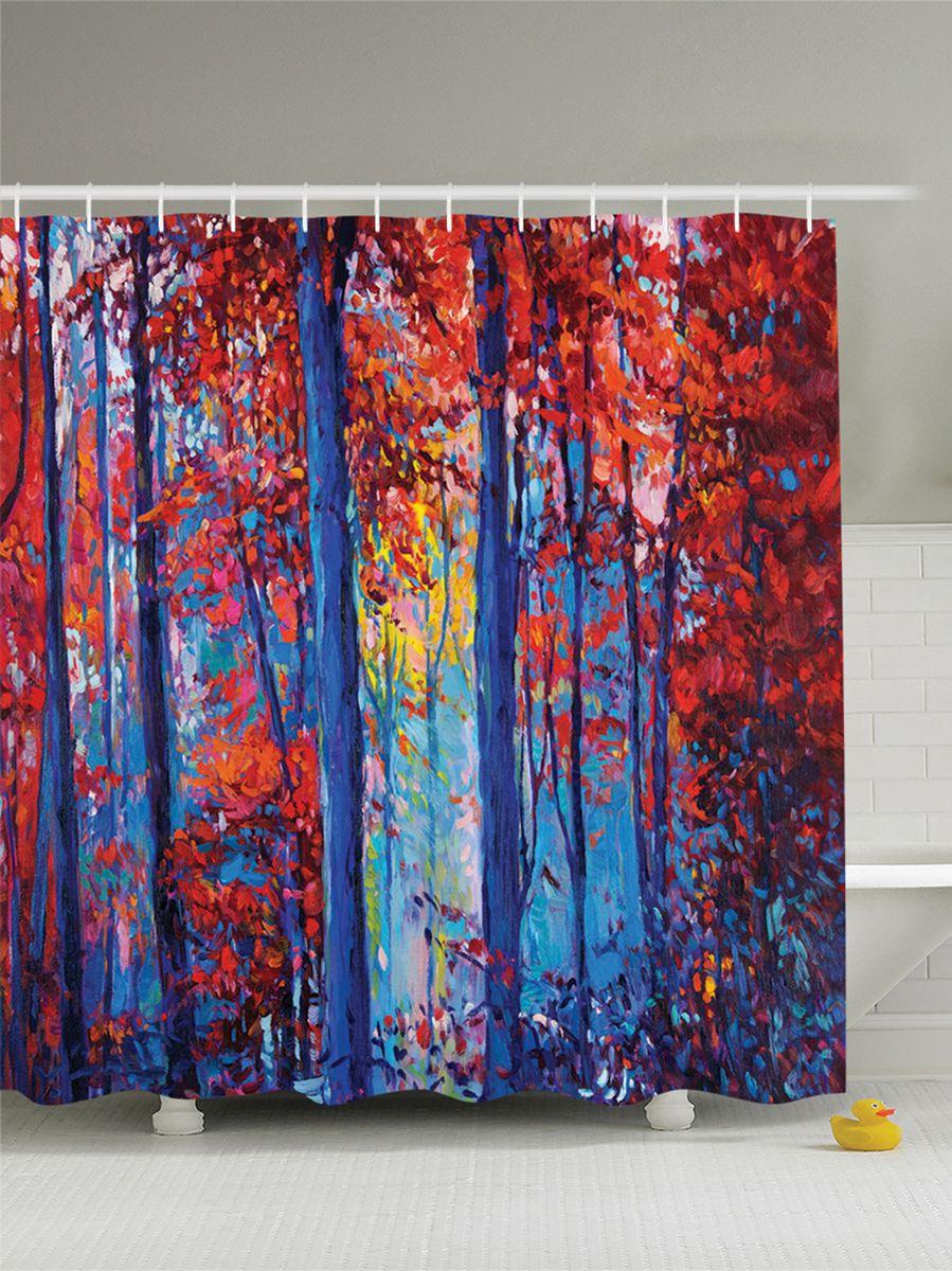 Штора для ванной комнаты Magic Lady Картина. Осенний лес на холсте, 180 х 200 см фотоштора для ванной утка принимает душ magic lady 180 х 200 см