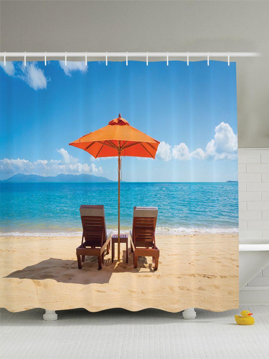"""Штора Magic Lady """"Лежаки на песчаном пляже у моря под зонтами"""", изготовленная из высококачественного сатена (полиэстер 100%), отлично дополнит любой интерьер ванной комнаты. При изготовлении используются специальные гипоаллергенные чернила для прямой печати по ткани, безопасные для человека.    В комплекте: 1 штора, 12 крючков. Обращаем ваше внимание, фактический цвет изделия может незначительно отличаться от представленного на фото."""