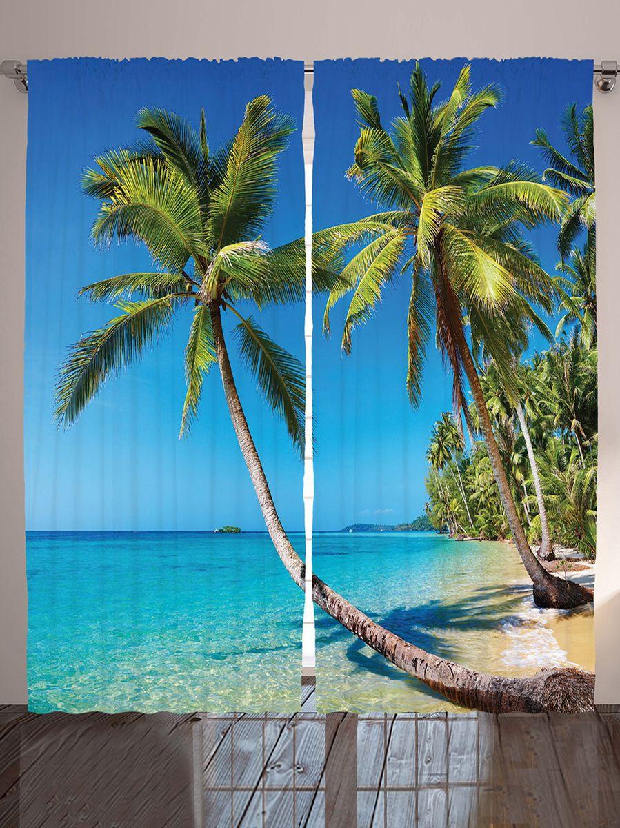 Комплект фотоштор Magic Lady Пальмы над водой, на ленте, высота 265 см фотошторы magic lady комплект фотоштор для гостиной зелёные острова полиэстер плотностью 175 г кв м 290 265 см