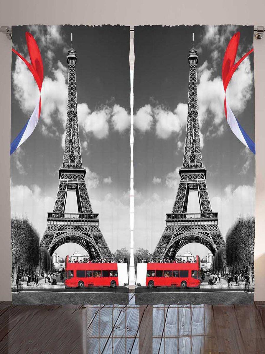 """Комплект фотоштор Magic Lady """"Известный символ Парижа"""", на ленте, цвет: серый, красный, белый, высота 265 см"""