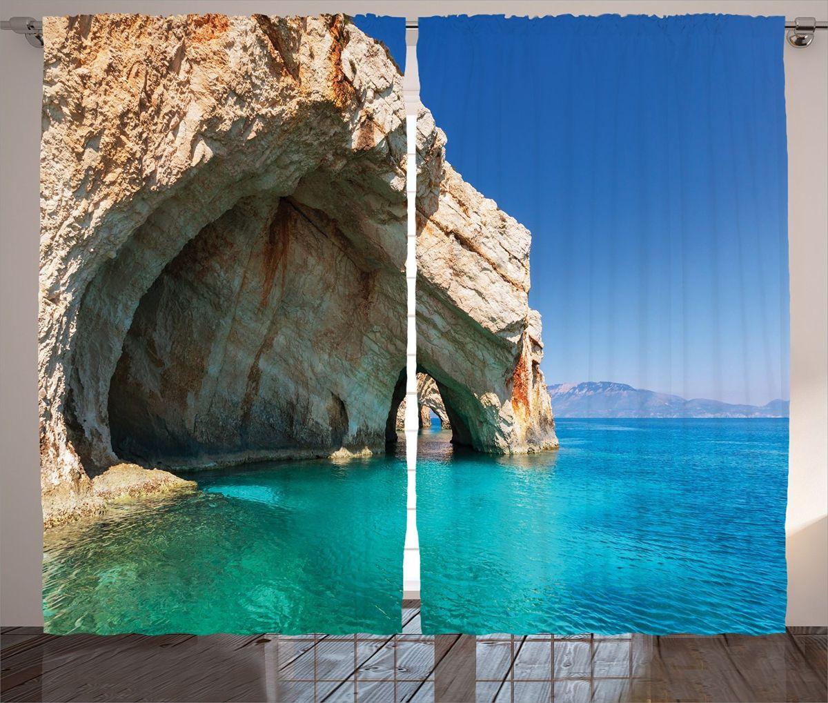 Комплект фотоштор Magic Lady Морская пещера, на ленте, высота 265 см фотошторы magic lady плотные фотошторы две хамсы 290 265 см
