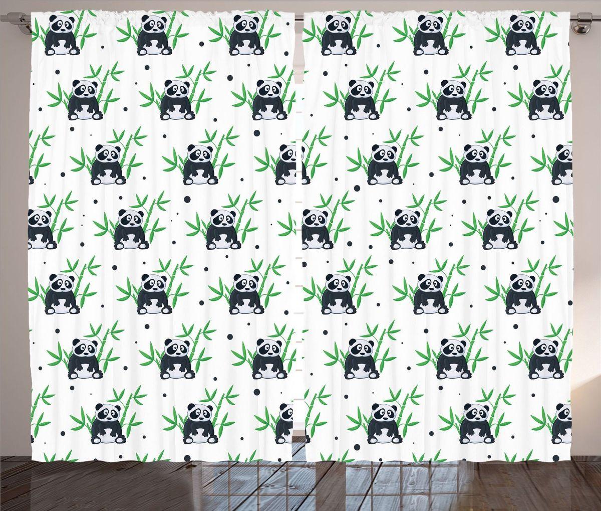 Комплект фотоштор Magic Lady Панды и бамбук, на ленте, высота 265 смшсг_12186Фотошторы Magic Lady Панды и бамбук, изготовленные из высококачественного сатена (полиэстер 100%), отлично дополнят любой интерьер. При изготовлении используются специальные гипоаллергенные чернила для прямой печати по ткани, безопасные для человека и животных. Крепление на карниз при помощи шторной ленты на крючки.В комплекте 2 шторы, 50 крючков. Ширина одного полотна: 145 см.Высота штор: 265 см.Изображение на мониторе может немного отличаться от реального.