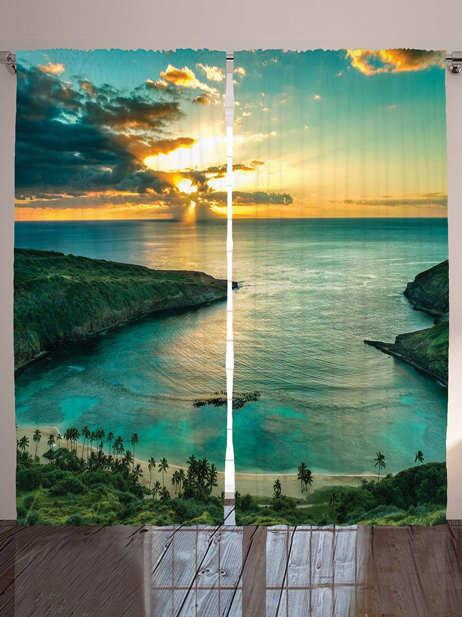 Комплект фотоштор Magic Lady Плавный спуск к океану, на ленте, высота 265 смшсг_12295Роскошный комплект фотоштор Magic Lady Плавный спуск к океану, выполненный из высококачественного сатена (полиэстер 100%), великолепно украсит любое окно. При изготовлении используются специальные гипоаллергенные чернила. Комплект состоит из двух фотоштор и декорирован изящным рисунком. Оригинальный дизайн и цветовая гамма привлекут к себе внимание и органично впишутся в интерьер комнаты. Крепление на карниз при помощи шторной ленты на крючки.