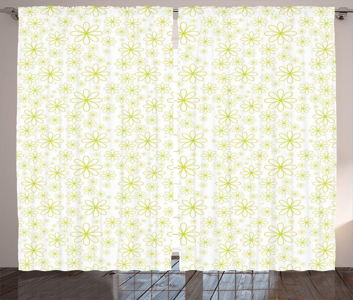 Комплект фотоштор Magic Lady Зеленые цветы, на ленте, высота 265 см фотошторы magic lady плотные фотошторы две хамсы 290 265 см