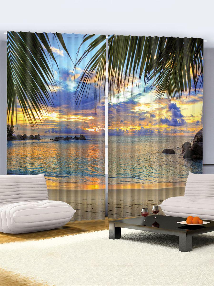 Комплект фотоштор Magic Lady Сказочный пляж, на ленте, высота 265 см
