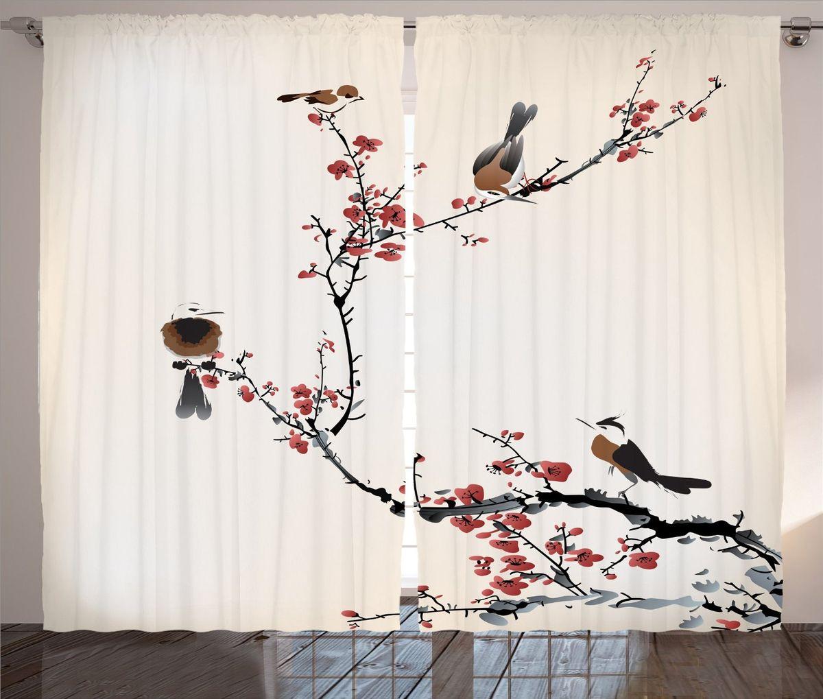 Комплект фотоштор Magic Lady Птицы на ветках цветущей сакуры, на ленте, высота 265 см
