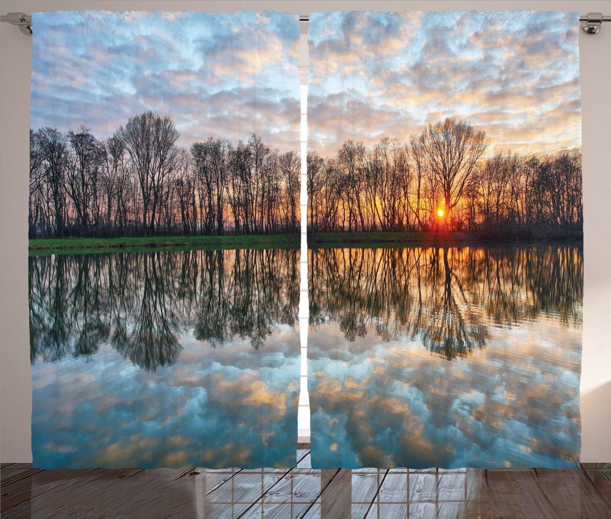 Комплект фотоштор Magic Lady Закат на весенней реке, на ленте, высота 265 см фотошторы magic lady плотные фотошторы две хамсы 290 265 см