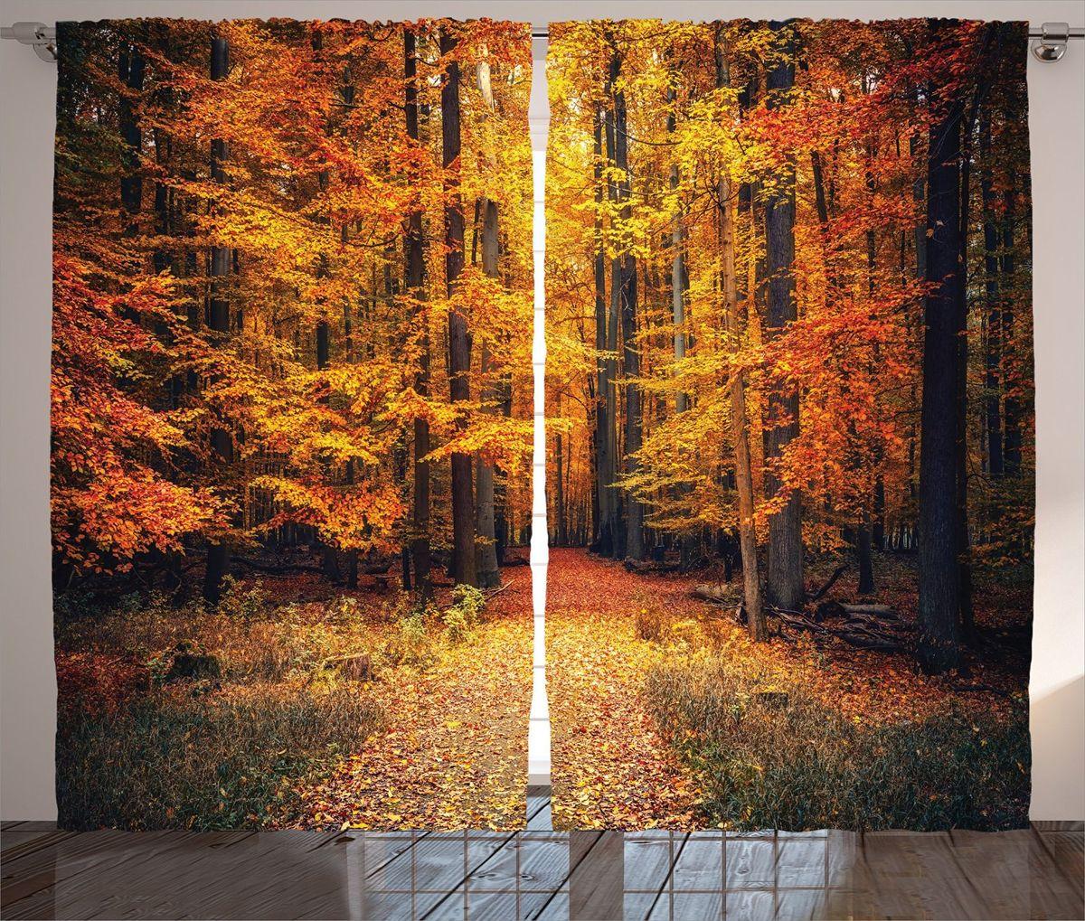 Комплект фотоштор Magic Lady Оранжевая осень в парке, на ленте, высота 265 см
