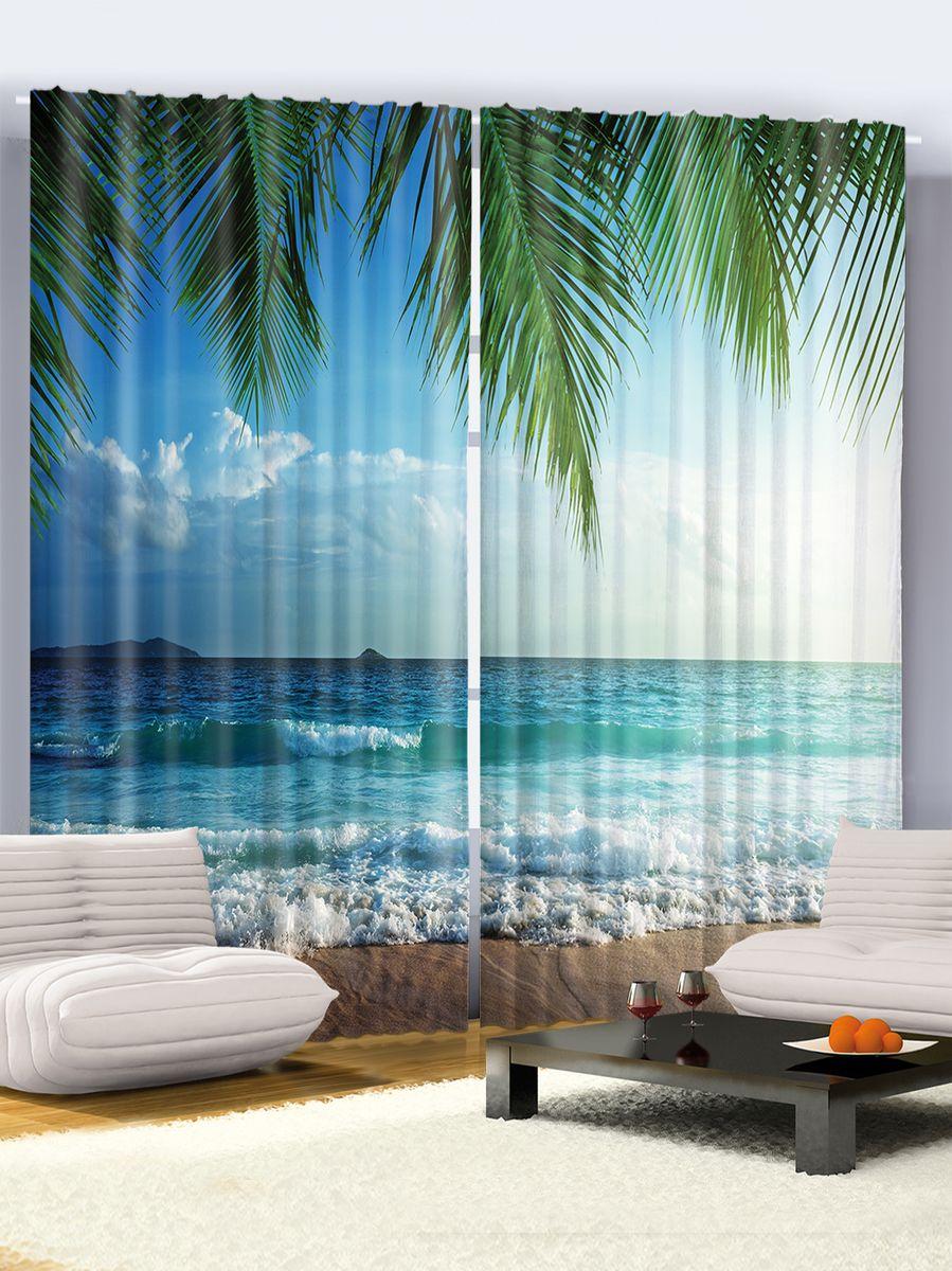 Комплект фотоштор Magic Lady Прибой под пальмами, на ленте, высота 265 см долли нейл хижина под пальмами