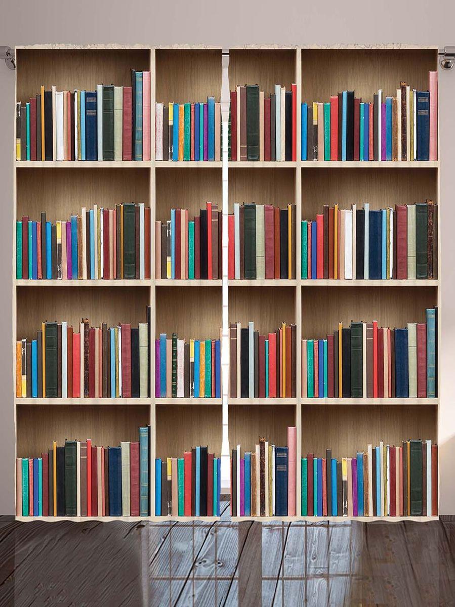 Комплект фотоштор Magic Lady Имитация книжного шкафа, на ленте, высота 265 см