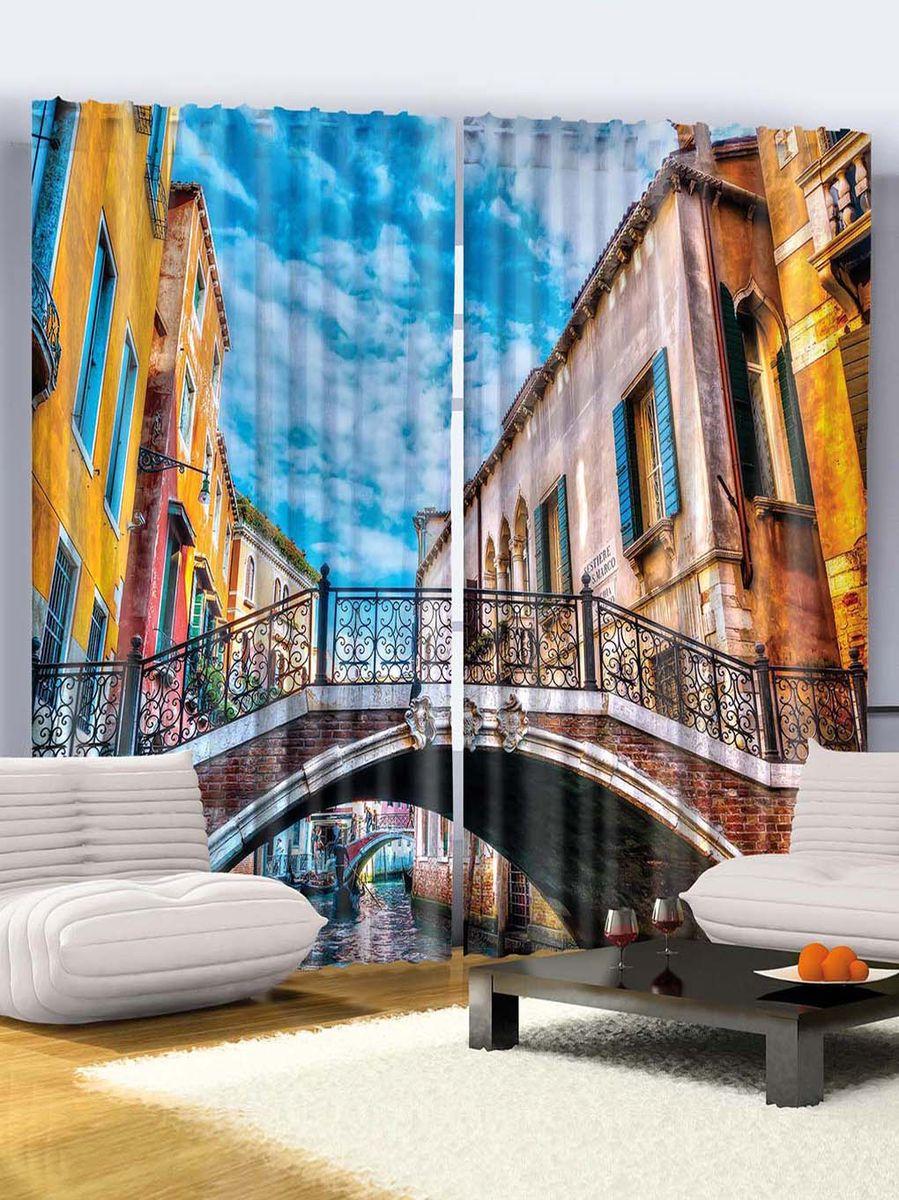 Комплект фотоштор Magic Lady Путешествие в Венецию, на ленте, высота 265 см фотошторы magic lady плотные фотошторы две хамсы 290 265 см