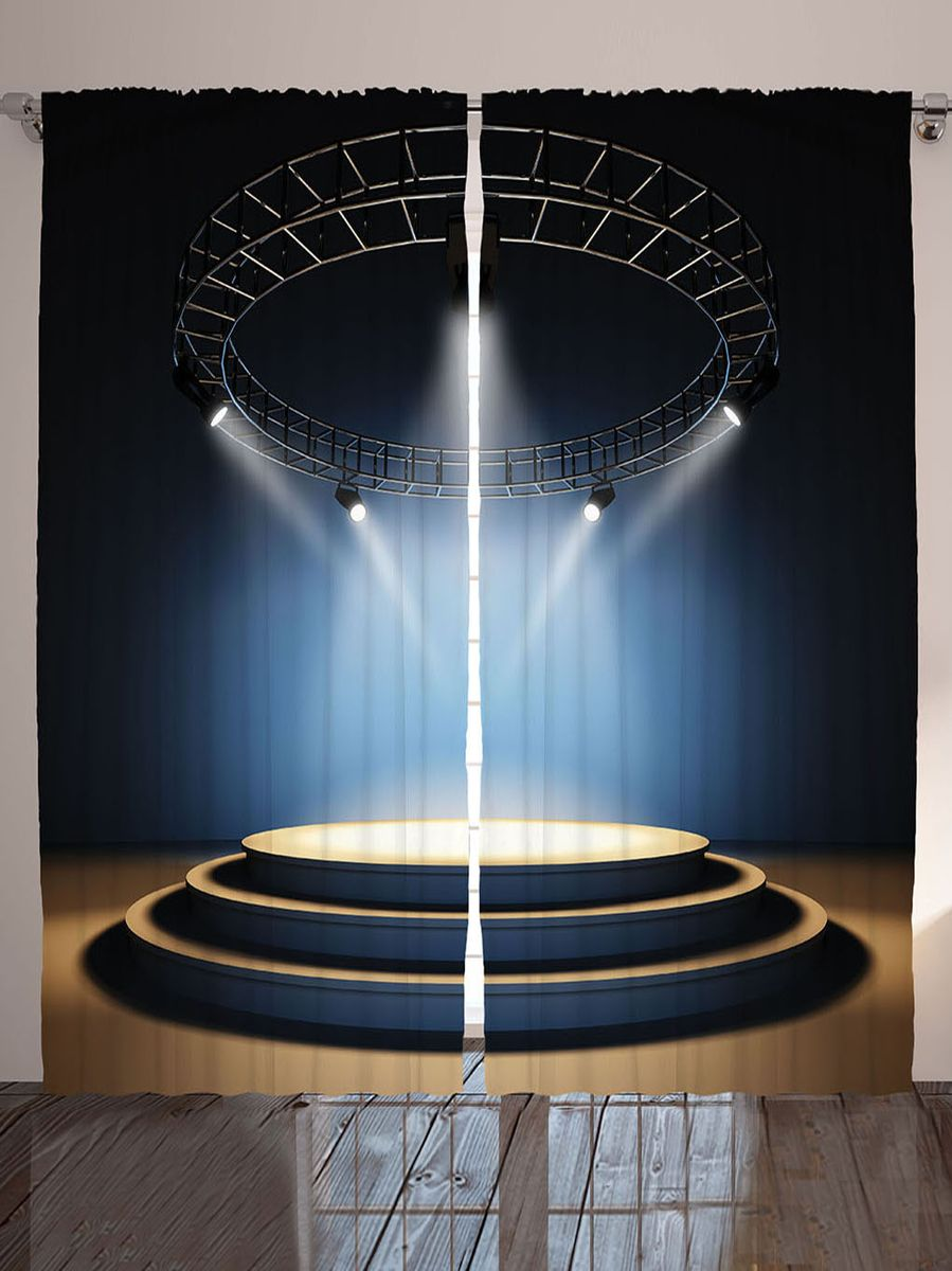 Комплект фотоштор Magic Lady Сцена под софитами, на ленте, высота 265 см