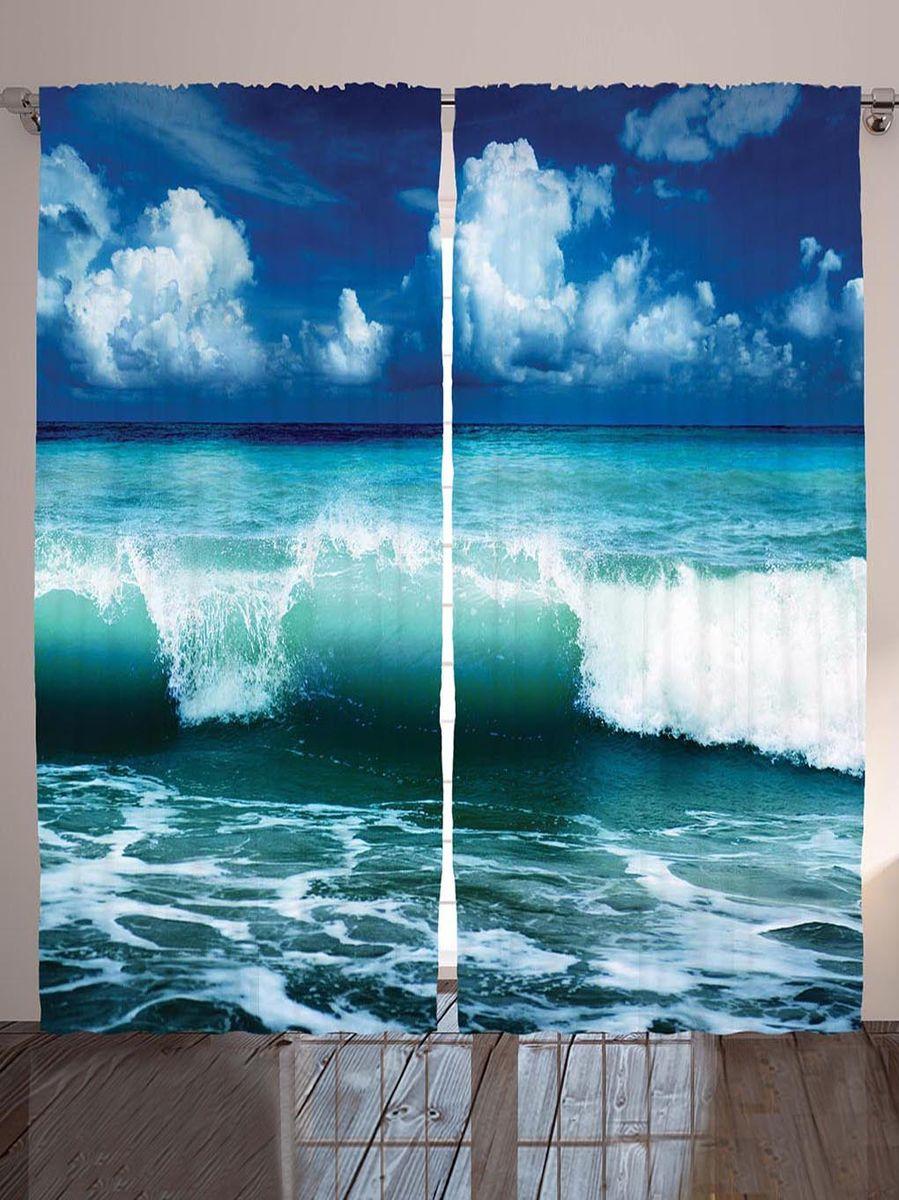 Комплект фотоштор Magic Lady Зеленые волны, на ленте, высота 265 см фотошторы magic lady плотные фотошторы две хамсы 290 265 см
